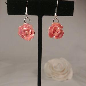 Dangling Shimmering Pink Rose Earrings